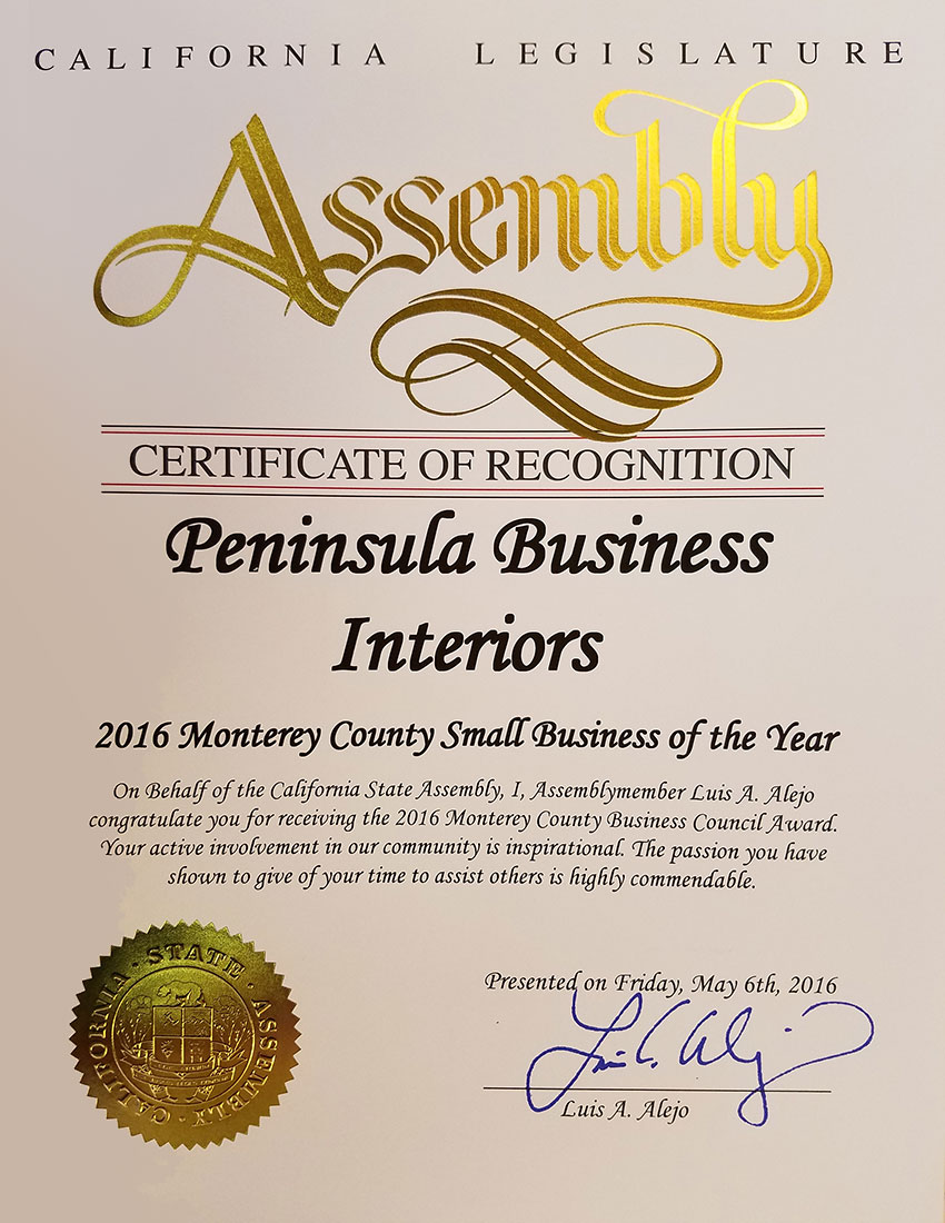 California Legislature Assembly Small Business Of The Year 2016