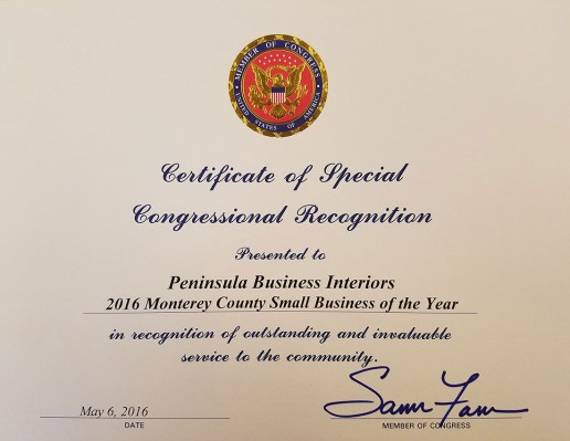 Certificate of Special Congressional Recognition 2016