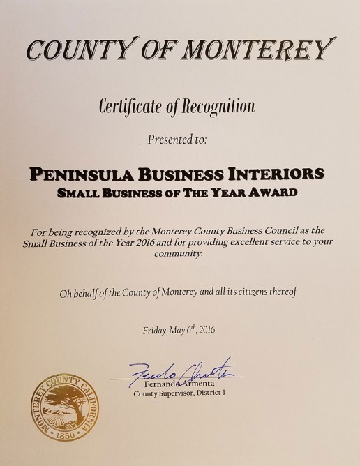 County of Monterey Small Business of the Year 2016